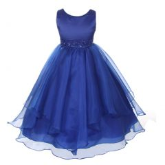 Chic Baby Big Girls Royal Blue Beaded Waist Junior Bridesmaid Dress 8-12