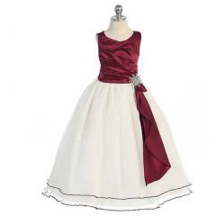 Chic Baby Burgundy Surplice Double Layer Girls Pageant Dress 4-14
