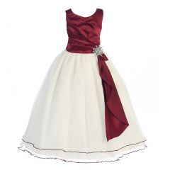 Chic Baby Little Girls Burgundy Layered Brooch Tulle Flower Girl Dress 4-6
