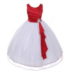 Chic Baby Big Girls Red Layered Brooch Tulle Junior Bridesmaid Dress 8-14
