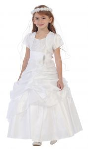 Chic Baby Little Girls White Bejeweled Pick Up Bolero Pageant Dress 2-6