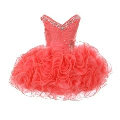 RainKids Baby Girls Coral Beading Ruffle Organza Short Pageant Dress 12-24M