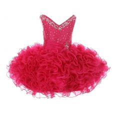 RainKids Baby Girls Fuchsia Beading Ruffle Organza Short Pageant Dress 12-24M