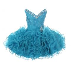 RainKids Little Girls Turquoise Beading Ruffle Organza Short Pageant Dress 2-4T