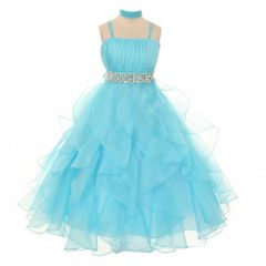 Chic Baby Little Girls Aqua Vertical Ruffle Flower Girl Pageant Dress 4-6