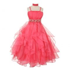 Chic Baby Big Girls Coral Vertical Ruffle Junior Bridesmaid Pageant Dress 8-18