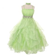Chic Baby Big Girls Lime Vertical Ruffle Junior Bridesmaid Pageant Dress 8-18