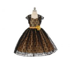 Chic Baby Big Girls Black Gold Lace Hi-Low Special Occasion Jacket Dress 8-14