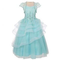 Chic Baby Little Girls Mint Lace Tiered Pageant Flower Girl Dress 4-6