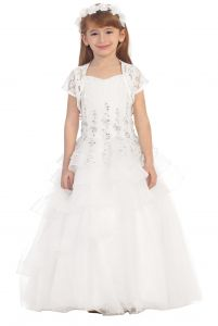 Chic Baby Big Girls White Lace Tiered Pageant Flower Girl Dress 8-18