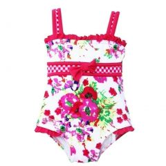 Azul Baby Girls Think Pink Floral Checker Print One Piece Swimsuit 12-24M