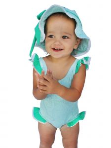 Azul Baby Girls Aqua Breakfast At Tiffany's Ruffle One Piece Swimsuit 12-24M