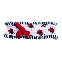 Azul Girls Red Black Miss Nerdy Bug Stripe Print Bow Accent Headband