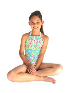 Azul Big Girls Multi Color Free Spirits Halter Tie One Piece Swimsuit 7-16