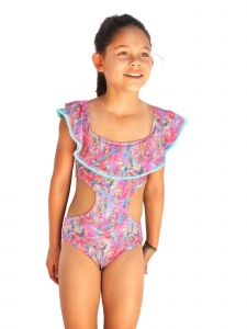 Azul Big Girls Pink Paisley Print Fiesta Peasant Monokini Swimsuit 7-16