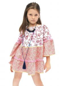 Azul Little Girls Pink Boho Chic Pom-Pom Adorned Long Sleeved Dress 2T-7