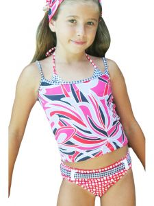 Azul Big Girls Red Modern Mix Trikini Swimsuit 14