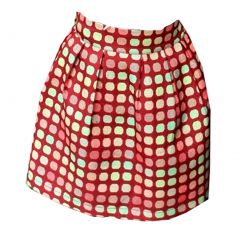 Little Girls Red Green Polka Dot Candy Cane Pleat-Accent A-Line Skirt 1-6Y