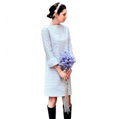 Womens Blue Stripe Boat Neck Bell Three Quarter Sleeved Nautical Dresses S