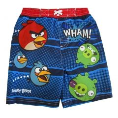 Angry Birds Little Boys Navy Red Green Cartoon Print Swimwear Shorts 2-4T