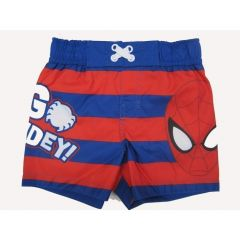 "Marvels Little Toddler Boys Red Royal Blue Striped ""Go Spidey"" Swim Shorts 2-4T"