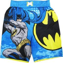 Batman Little Toddler Boys Sky Blue Cartoon Character Swimwear Shorts 2-4T