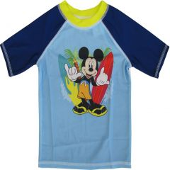 Disney Little Boys Sky Blue Mickey Mouse Print Rash Guard Swimwear Shirt 2-4T