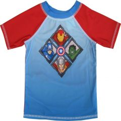 Marvel Little Boys Red Sky Blue Avengers Print Rash Guard Swimwear Shirt 2-4T