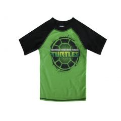 Nickelodeon Little Boys Green Black TMNT Print Short Sleeve Rashguard 4-7