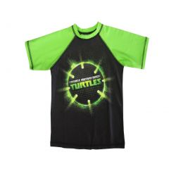 Nickelodeon Boys Green Black TMNT Ball Print Short Sleeve Rashguard 4-12