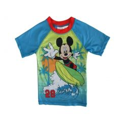 Disney Little Boys Green Blue Mickey Mouse Print UPF 50+ Rash Guard 2-4T