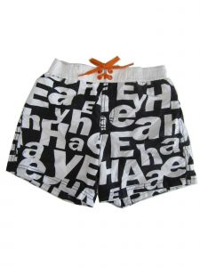 Jake Austin Little Boys Black White Letter Adjustable Waist Swim Shorts 4-6