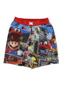 Super Mario Little Boys Multi Cartoon Inspired Odyssey Swim Shorts 2-4T