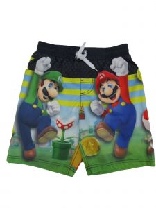 Little Boys Navy Super Mario And Friends Drawstring Tie Swim Shorts 4-7