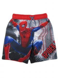 Disney Marvel Little Boys Red Grey Spiderman Drawstring Tie Swim Shorts 4-7