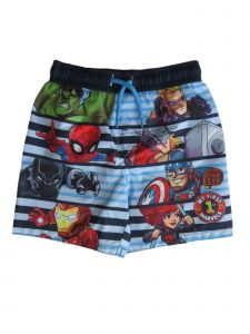 Marvel Little Boys Blue Avengers Drawstring Tie Swim Shorts 2-4T