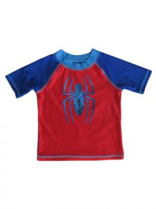 Marvel Little Boys Blue Red Spiderman Short Sleeve Rashguard 2T
