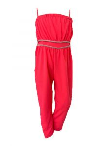 Sinai Kids Big Girls Neon Pink Trimmed Waist Sleeveless Jumpsuit 8-14