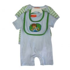 "Nickelodeon Baby Boys White ""Go Diego Go"" Bib Striped 3 Pc Romper Set 0-9M"