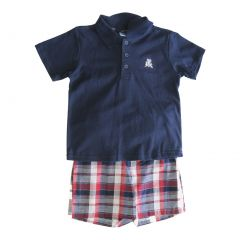 Weeplay Little Boys Navy Blue Polo Shirt Plaid 2 Pc Shorts Set 2-4T