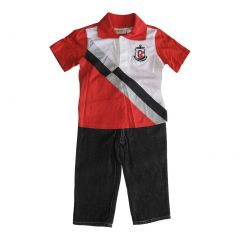 Carter's Little Boys Red White Polo Shirt Black Denim Pants 2 Pc Set 2-4T