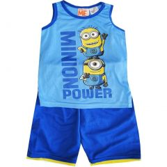 Minions Big Boys Sky Blue Sleeveless 2 Pcs Basketball Shorts Set 8-12