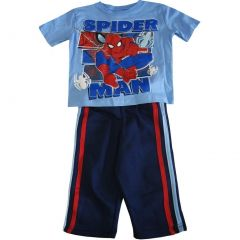 Marvel Little Boys Blue Spiderman Short Sleeve Side Stripe 2Pc Pant Set 2-4T