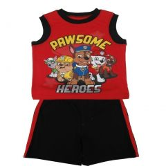 Nickelodeon Little Boys Red Paw Patrol Sleeveless Top 2 Pc Shorts Set 2T-7