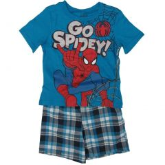 "Marvel Little Boys Blue ""Go Spidey"" Printed Tee Plaid 2 Pc Shorts Set 4-7"
