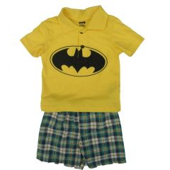 DC Comics Baby Boys Yellow Batman Logo Tee Plaid 2 Pc Shorts Set 12-24M