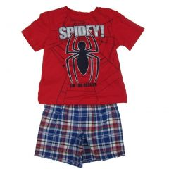 Marvel Little Boys Red Blue Spiderman Short Sleeve 2 Pc Shorts Outfit 2-4T