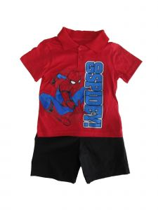 "Marvel Little Boys Red Black ""Go Spidey"" Print 2 Pc Shorts Outfit 2-4T"