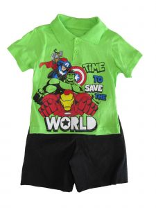 Marvel Little Boys Green Avengers Super Hero Print 2 Pc Shorts Outfit 2T-7