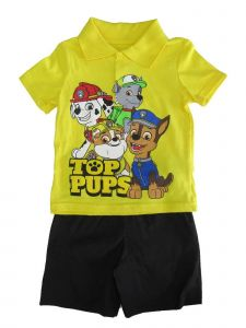 "Nickelodeon Little Boys Yellow Paw Patrol ""TOP PUPS"" 2 Pc Shorts Outfit 2-4T"
